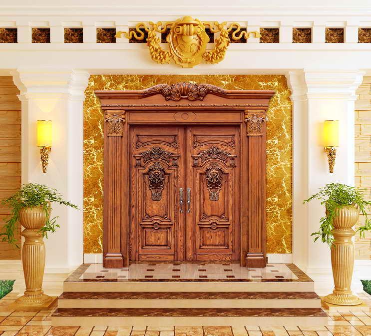 翔升原木双开门,别墅门,豪华欧式风,入户门 xs1-001