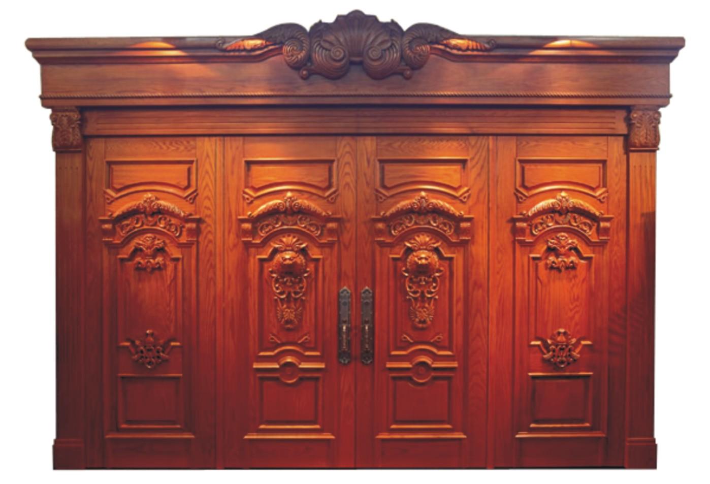 门业图片-原木门对开大门yll-8001四海升平图片