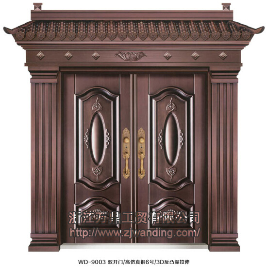 門業圖片-豪華別墅大門wd-9003雙開門-高仿真銅6號