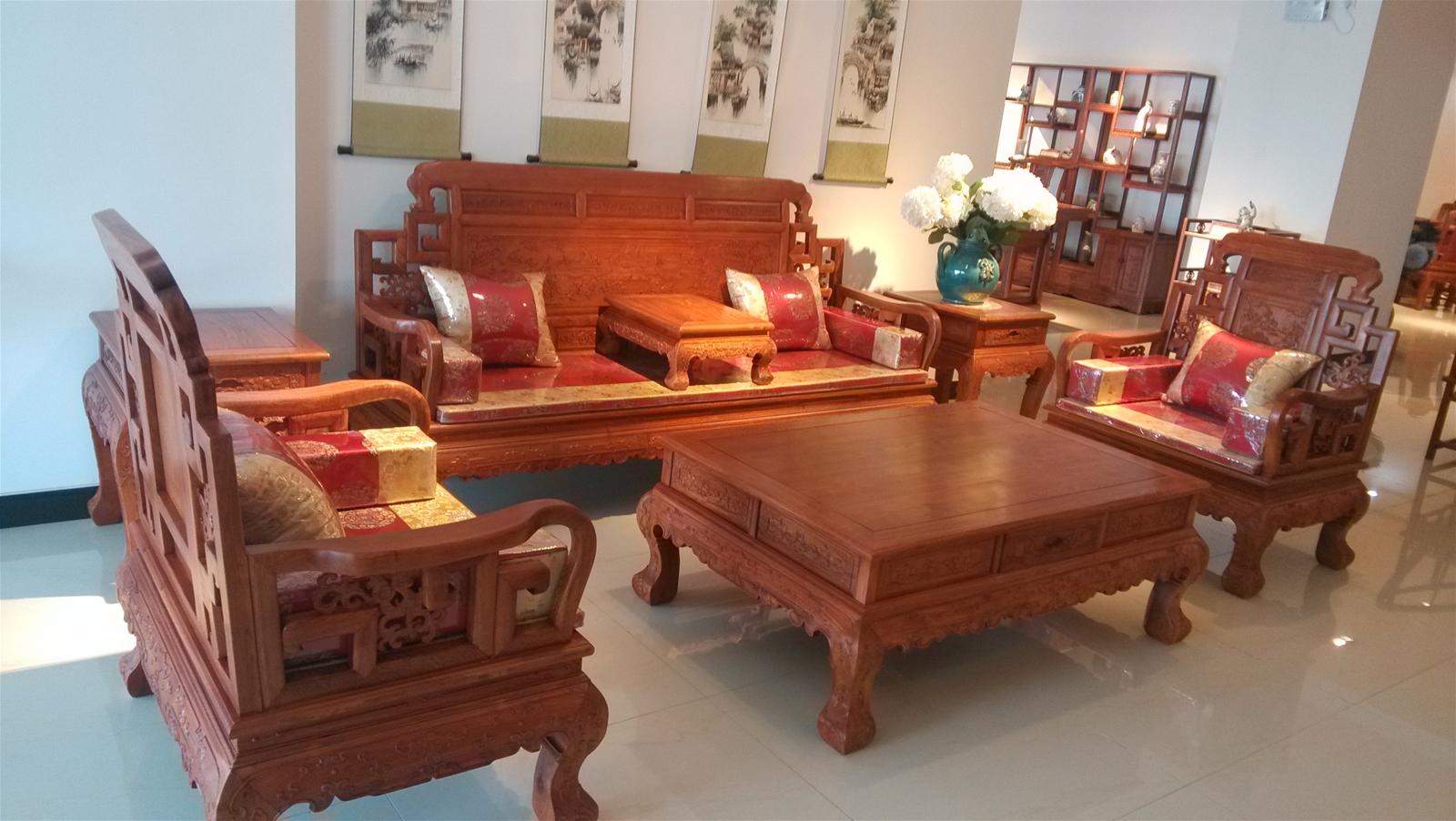 北京铭华v红木红木家具-六红木春花梨-浙江合同颜色搭配地板家具沙发图片
